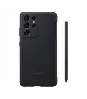 کاور محافظ مدل Silicon مناسب برای گوشی سامسونگ Galaxy S21 Ultra به همراه قلم نوری