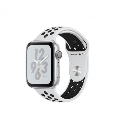 ساعت هوشمند اپل واچ سری 4 مدل Silver Aluminum Case with Pure Platinum Black Nike Sport Band