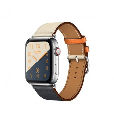ساعت هوشمند اپل واچ سری 4 مدل Stainless Steel Case with Indigo Craie Orange Swift Leather Single Tour