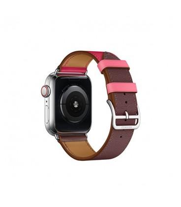 ساعت هوشمند اپل واچ سری 4 مدل Stainless Steel Case with Bordeaux Rose Extrême Rose Azalée Swift Leather Single Tour
