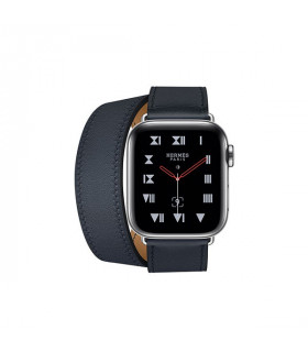 ساعت هوشمند اپل واچ سری 4 مدل Stainless Steel Case with Bleu Indigo Swift Leather Double Tour