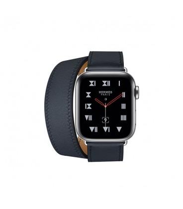 ساعت هوشمند اپل واچ سری 4 مدل Stainless Steel Case with Bleu Indigo Swift Leather Double Tour
