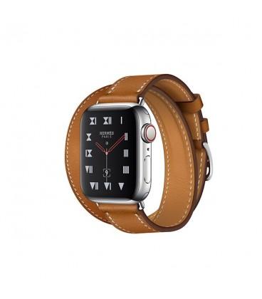 ساعت هوشمند اپل واچ سری 4 مدل Stainless Steel Case with Fauve Barenia Leather Double Tour