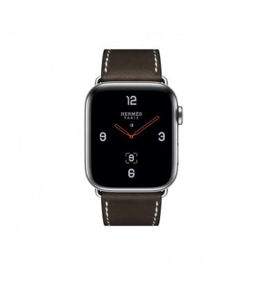 ساعت هوشمند اپل واچ سری 4 مدل Stainless Steel Case with Ébène Barenia Leather Single Tour Deployment Buckle